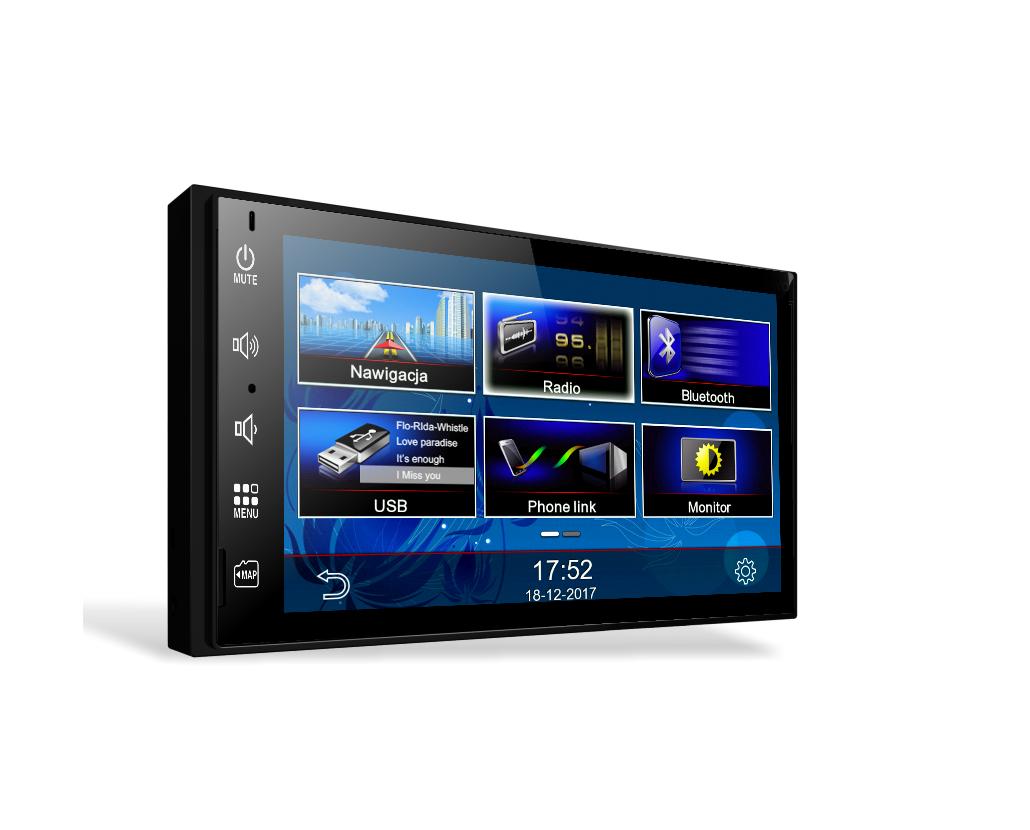 Panel przedni typu S-Flat wygląda jak tablet i posiada wyprowadzone przyciski systemowe głośności, home, navi, mute/off